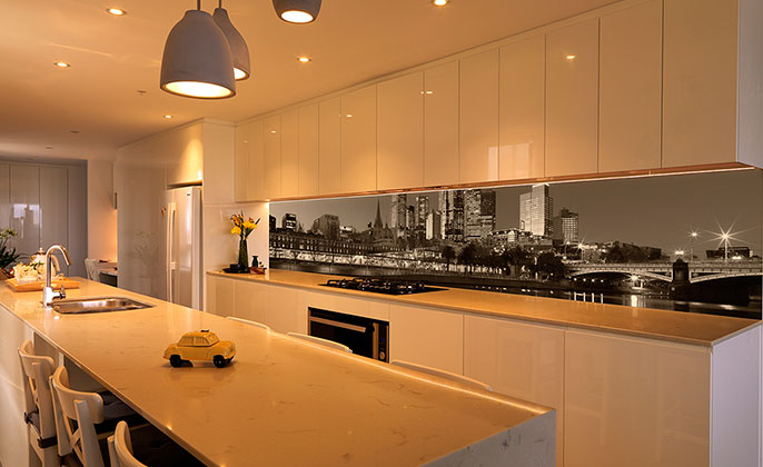 View Photo: City Scape Printed Splashback