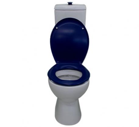 Bella Care toilet with blue raised button and blue seat S trap