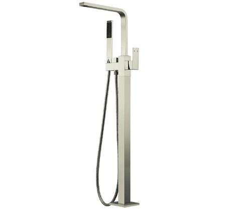 Chao Square Floor Mixer with Hand Shower - Brushed Nickel