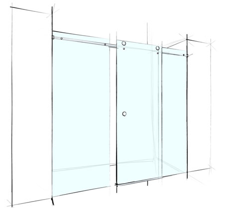 View Photo: Custom Frameless Sliding Wall to Wall - 3 Panels