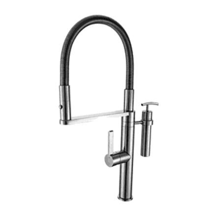 Eneo Sink Mixer with 2 Jet nozzle on metal spring and soap dispenser
