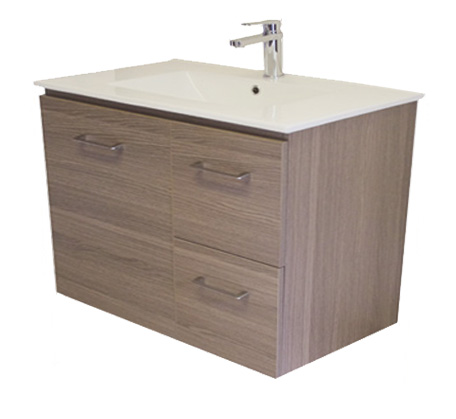 View Photo: Gateway 750 Wall Hung Vanity with China Top - Brown Laminate