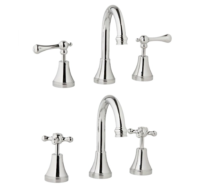 Georgian Basin Set 125mm Outlet Cross Handle - Chrome