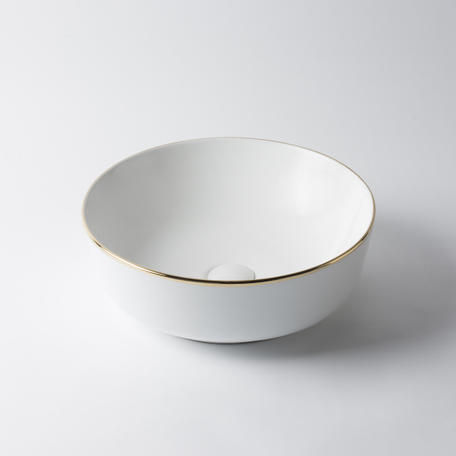 View Photo: Kensington Circle Basin - White with Gold Rim