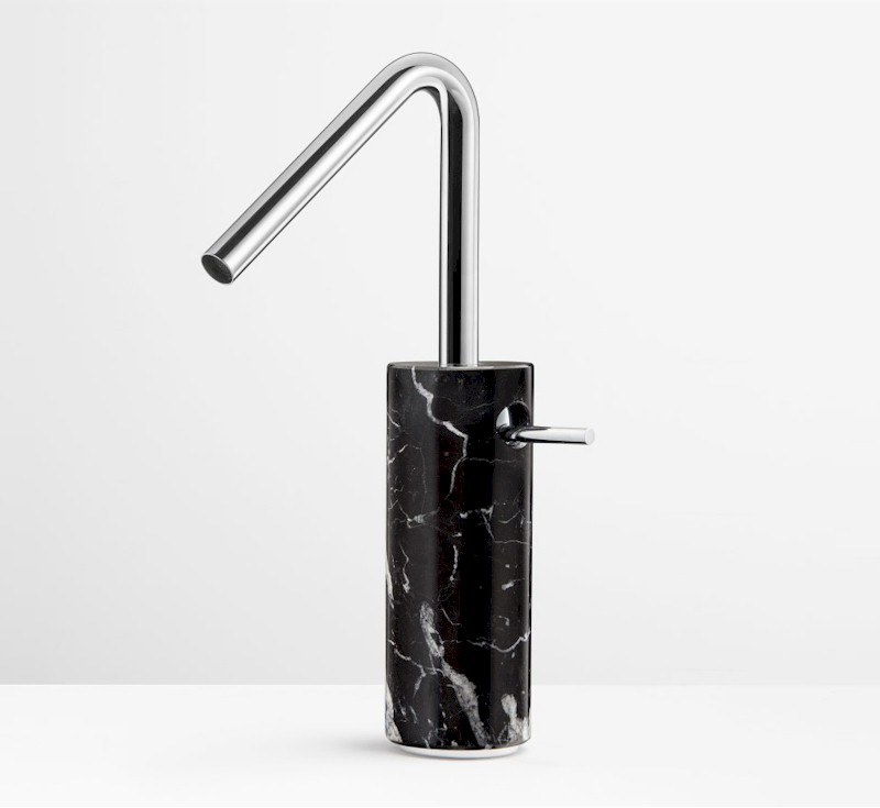 Marmo Black Marquina Marble Vessel Mixer - Chrome