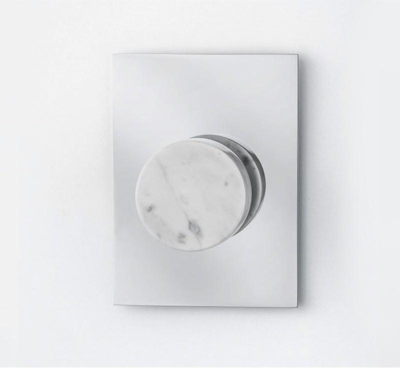 Marmo White Carrara Marble Shower Mixer - Chrome