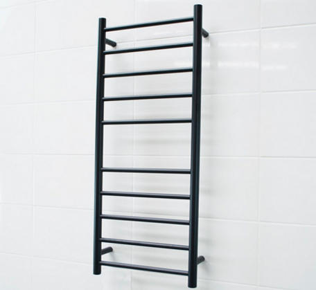 Matt Black Heated Towel Rail - 430x1100mm - 10 Round Bars