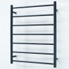 Matt Black Heated Towel Rail - 600x800mm - 7 Round Bars