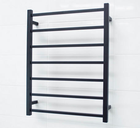 Matt Black Heated Towel Rail 600x800mm - 7 Square Bars