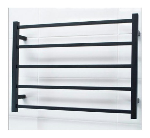 View Photo:  Matt Black Heated Towel Rail 750x550mm - 5 Square Bars