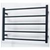 Matt Black Heated Towel Rail 750x550mm - 5 Square Bars