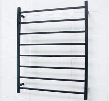 View Photo:  Matt Black Heated Towel Rail 800x1000mm - 8 Square Bars