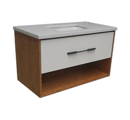 View Photo: Momento Solid Bamboo 900mm Vanity White Stone Top