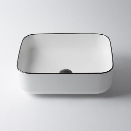 Montalto Small Rectangle Basin - White with Black Rim