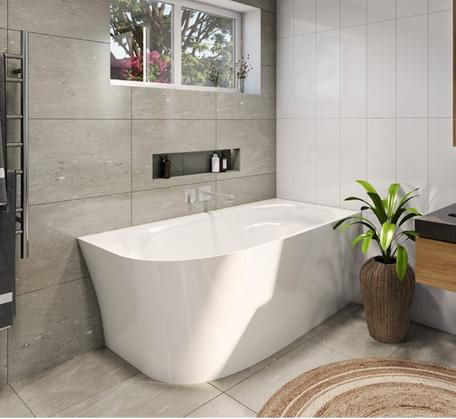Natalia Back to Wall Corner Freestanding Bath - 1500