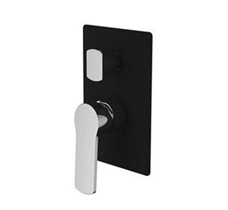 View Photo: Piera wall diverter mixer - Black & chrome