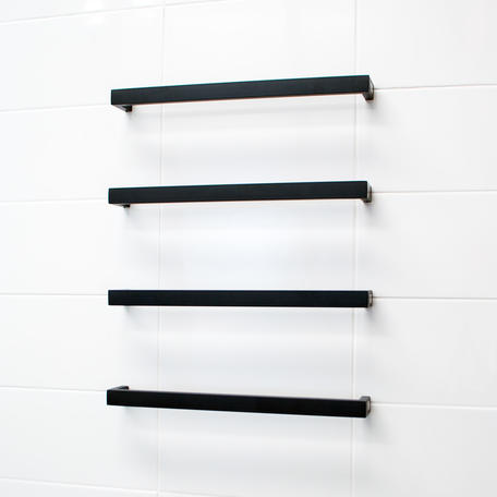 Radiant 12V Single Bar Square Heated Rail 800mm - Black