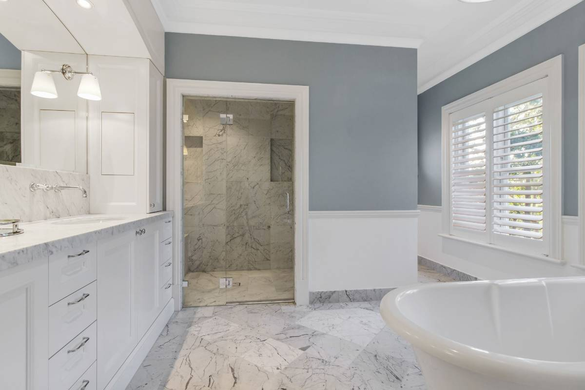 View Photo: Pymble House - White Marble Bathroom