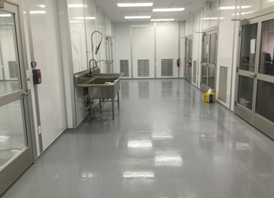 Hygienic floor coating for a medical centre