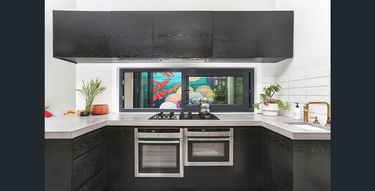 View Photo: Charcoal or anthracite coloured energy efficient kitchen sliding double glazed window