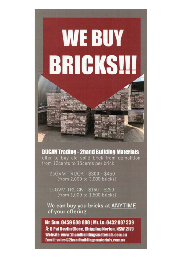 Browse Brochure: WE BUY BRICKS!!!