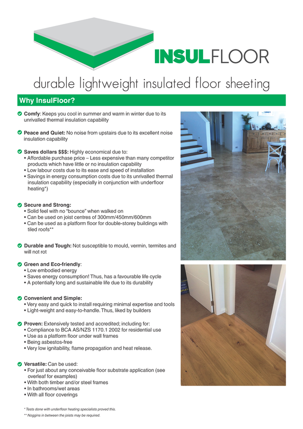 View Brochure: InsulFloor Brochure - durable, lightweight, insulated floor sheeting.