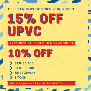 View Photo: EXTENDED UPVC SALE! 15% OFF on our new products.