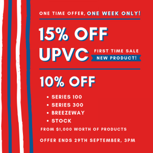 View Photo: UPVC SALE! 15% OFF on our new products.