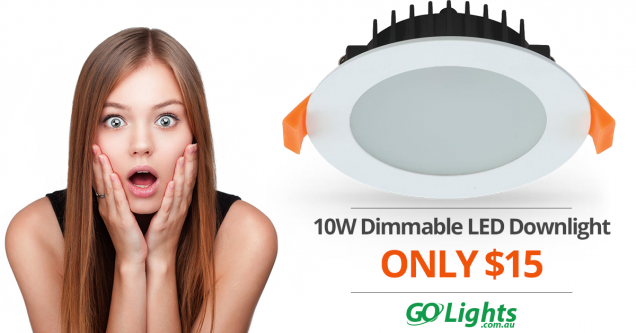 10W LED DIMMABLE DOWNLIGHT ONLY $15