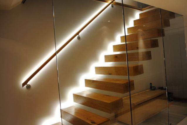 LED Strip Lighting Used To Light Up Staircases