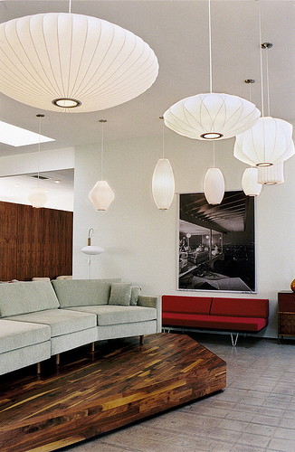 View Photo: Replica George Nelson Bubble Lamp Pearl Pendant Light White 40cm in Living Room