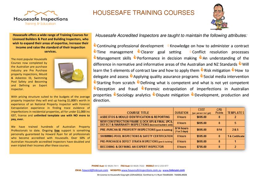View Brochure: HouseSafe Training