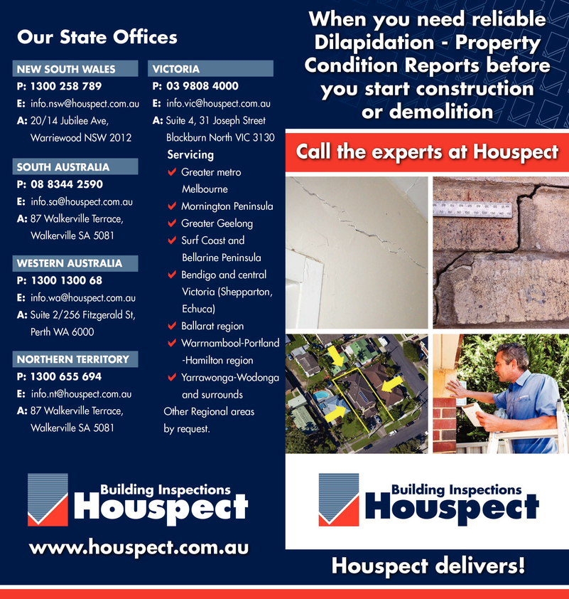 View Brochure: When you need reliable Dilapidation/Property Condition Reports..