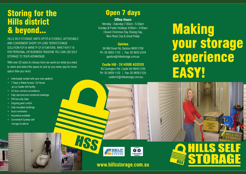 View Brochure: Hills Self Storage Brochure