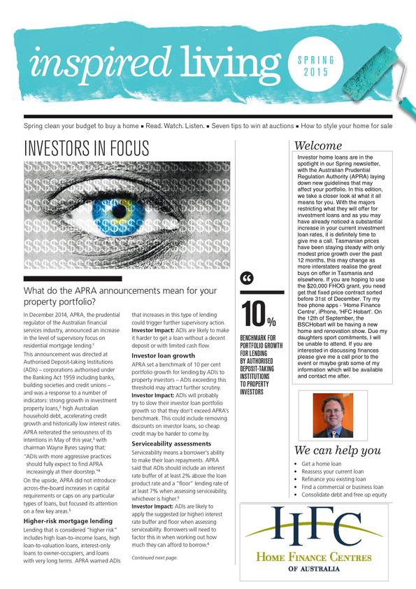 View Brochure: Spring HFCA Newsletter