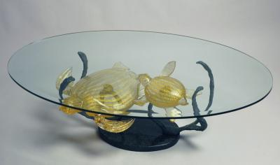 View Photo: Glass table with 24 Carat Gold Turtles