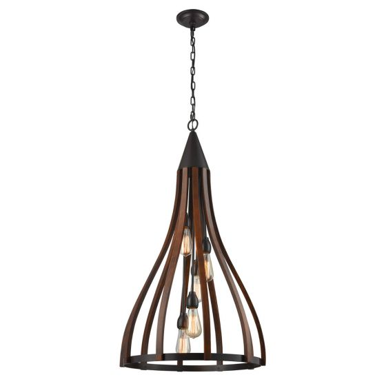 CLA Lighting Khaleesi 5 Iron and Wood Pendant Light