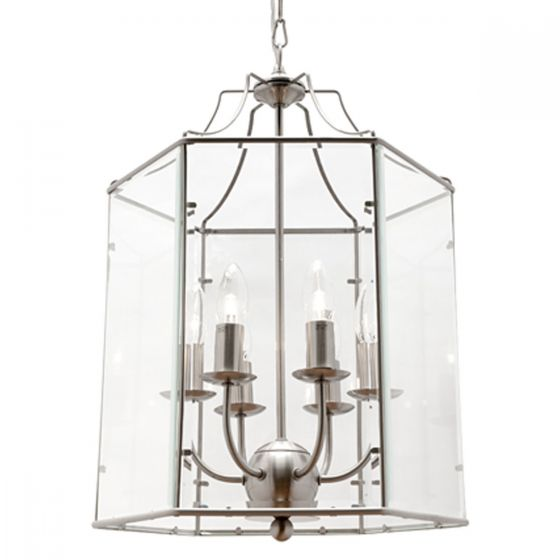 View Photo: Cougar Lighting Arcadia Satin Chrome & Clear Bevelled Glass 6 Light Pendant