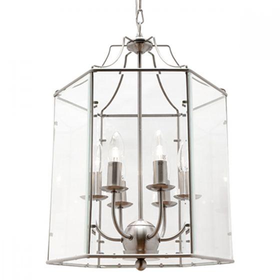 Cougar Lighting Arcadia Satin Chrome & Clear Bevelled Glass 6 Light Pendant