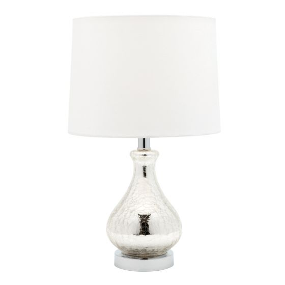 Cougar Lighting Naomi Crackle Glass and Chrome Table Lamp with Off White Shade
