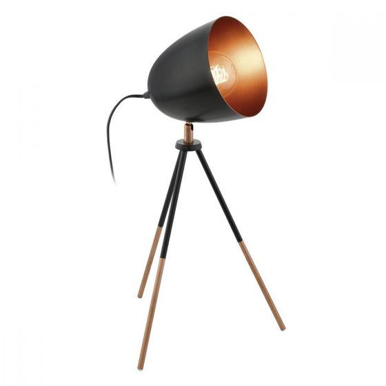Eglo Chester Black & Copper Vintage Tripod Dome Head Table Lamp
