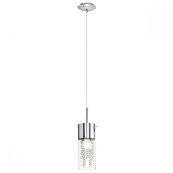 Eglo Diamond - Chrome, Clear Glass & Crystal Pendant Light