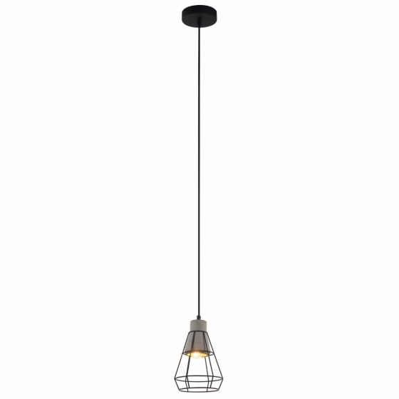 View Photo: Lampada Aquila Concrete Shade & Black Cage Pendant Light