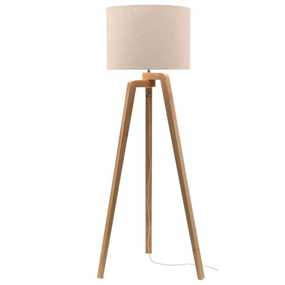 Mercator Tarifa Natural Timber & Cotton Shade Floor Lamp