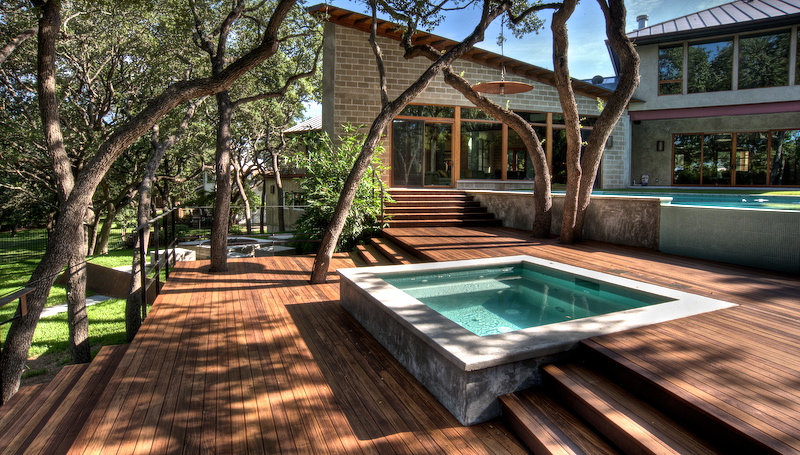 Swimming Pool Decking With Nature Photo Leisure Decking