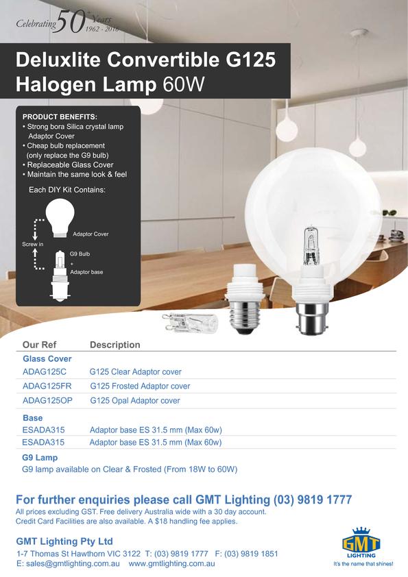 Browse Brochure: Deluxlite Convertible G125 Halogen Lamp 60W