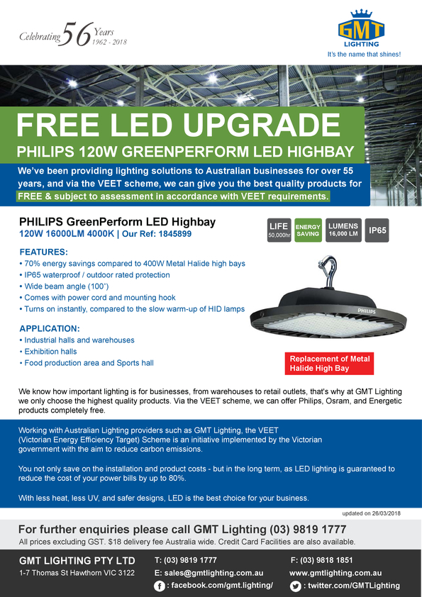 View Brochure: FREE LED UPGRADE PHILIPS 120W GREENPERFORM LED HIGHBAY