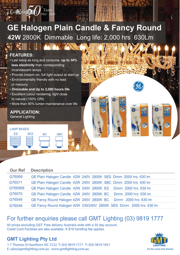 Browse Brochure: GE Halogen Plain Candle & Fancy Round
