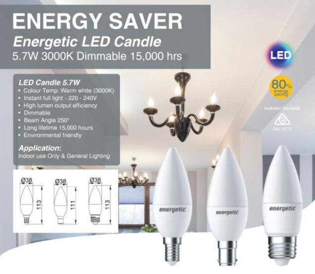 View Photo: Energetic LED Candle 5.7W 3000K Dimmable
