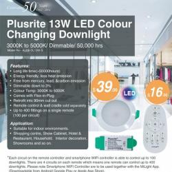 View Photo: Plusrite 13W LED Colour Changing Downlight Dimmable 3000K to 5000K